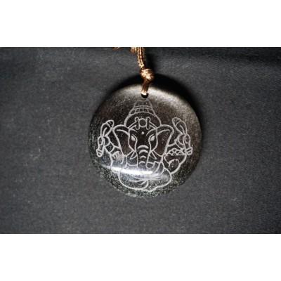 Pendentif Ganesh Obsidienne