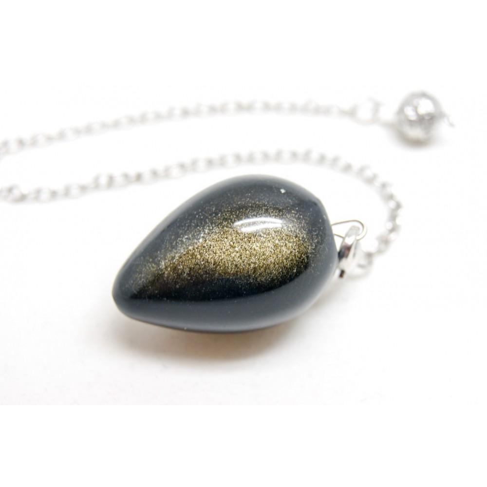 Pendule Oeuf obsidienne dorée