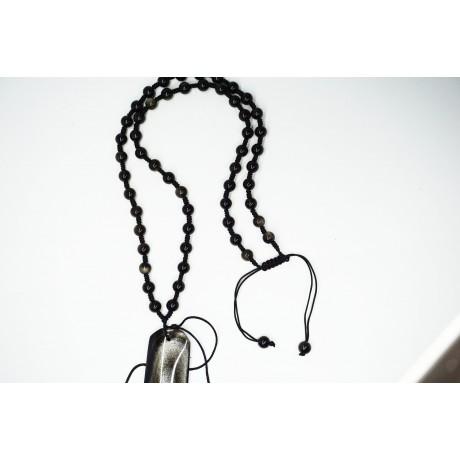 Collier obsidienne dorée ajustable avec attache pour pendentifs