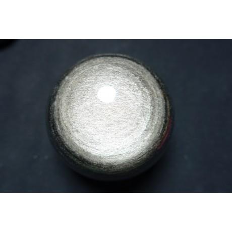 Sphère en obsidienne argenté