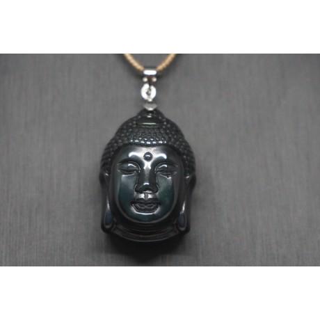 Pendentif tête Siddhartha obsidienne Oeil céleste