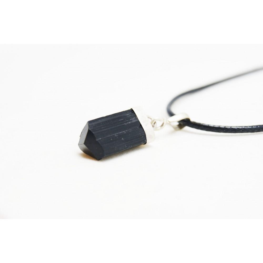 Pendentif Tourmaline Noire serti en argent 925