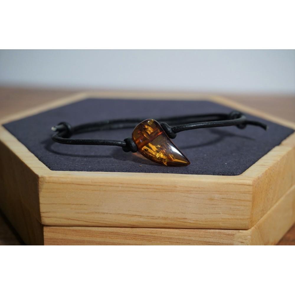 Bracelet adulte Ambre Miel Cognac