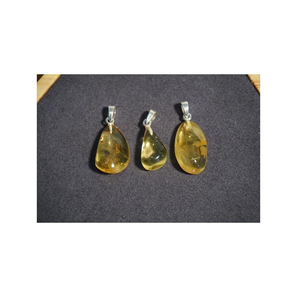 Pendentif Forme Libre Ambre Translucide Citron