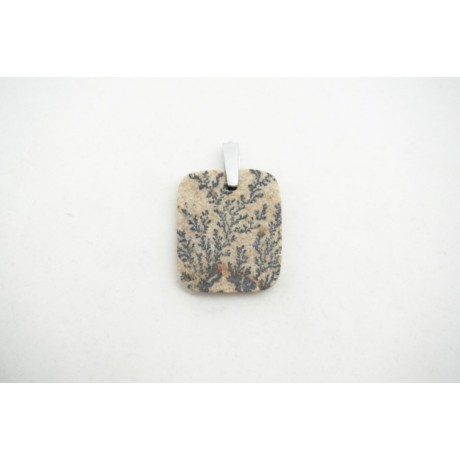 Pendentif Feuilles Fossile (Dendrite de Manganèse)