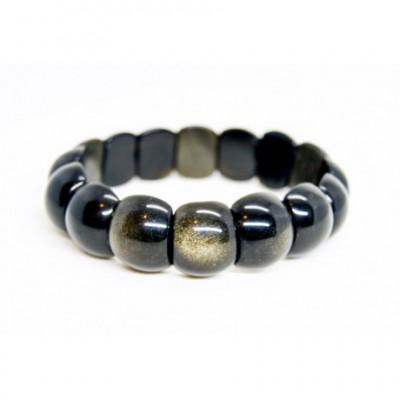 Bracelet Obsidienne Dorée Plat